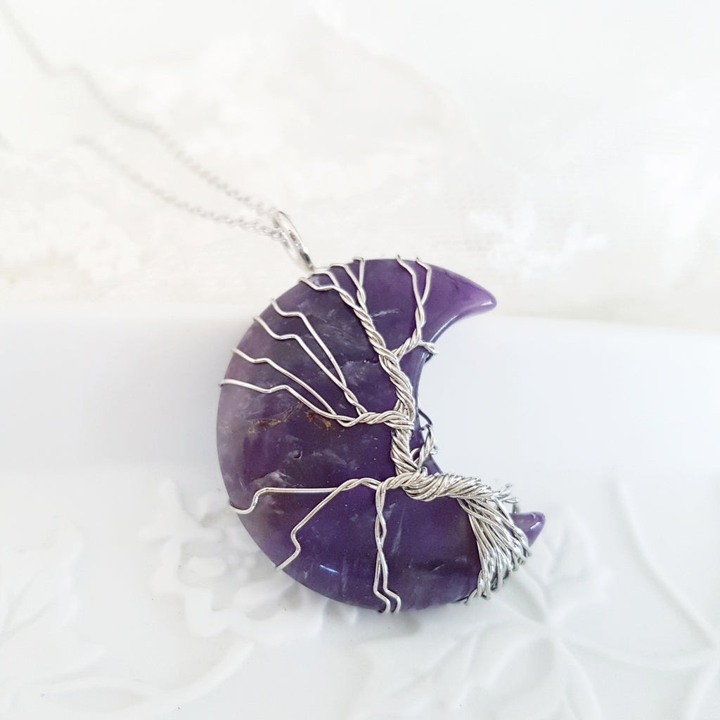Adore Gems Collection - Amethyst Crescent Moon Tree of Life Necklace