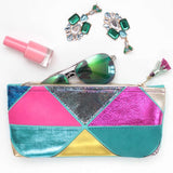 Geometric Prism Unique Leather Accents Pouch - Soul Made Boutique