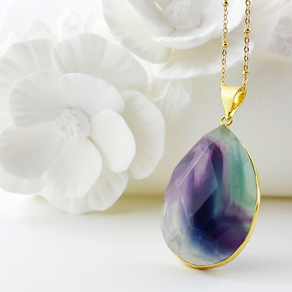 Adore Gemstone Collection - Fluorite Teardrop Necklace - Soul Made Boutique