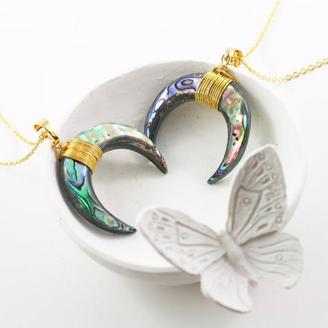 Adore Gemstone Collection - Abalone Shell Horn Necklace