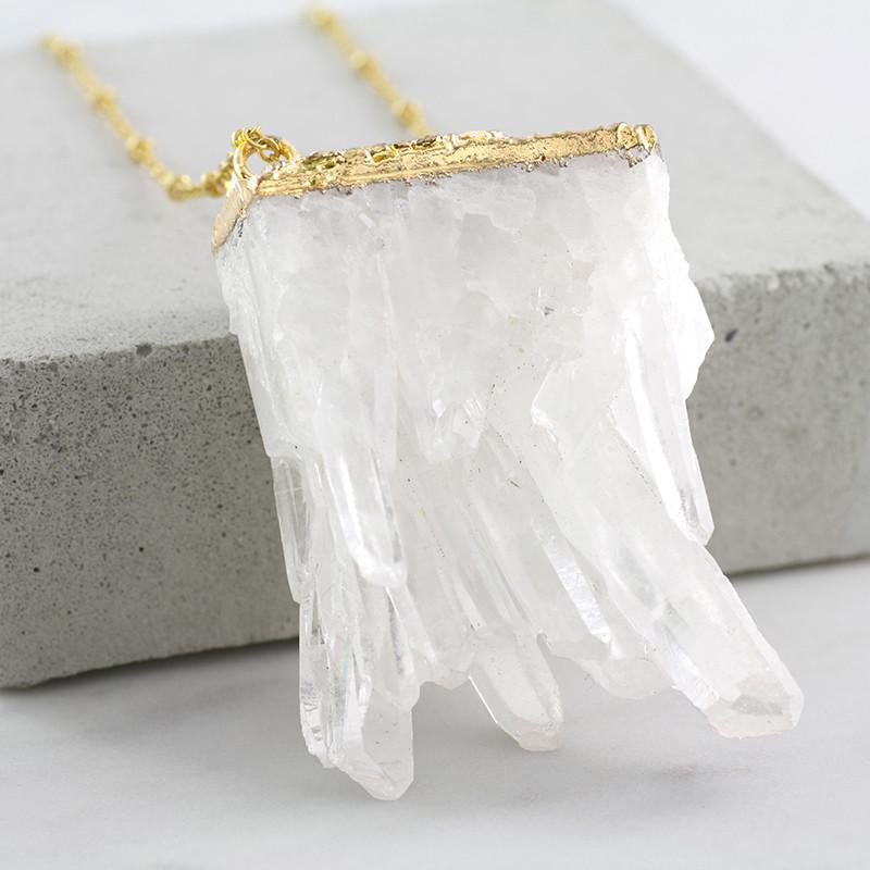 Adore Gemstone Collection - Quartz Raw Slab Necklace - Soul Made Boutique
