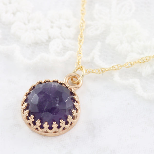 Adore Gemstone Collection - Amethyst Round Pendant Necklace - Soul Made Boutique