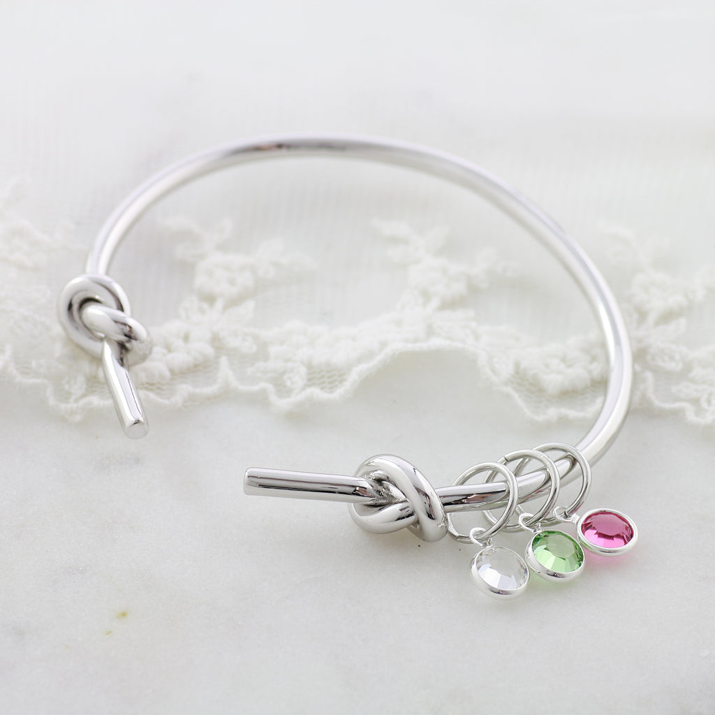 Amor Personalised Collection - Bangle Double Knot Birthstone Crystal - Soul Made Boutique