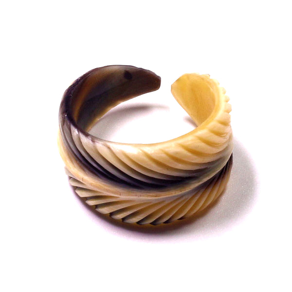 Charismatic Wanderlust Collection - Horn Ring Feather - Soul Made Boutique