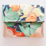 Floral Watercolor Unique Leather Accents Clutch
