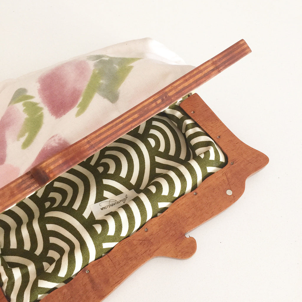Wooden Handle Watercolor Abstract Clutch