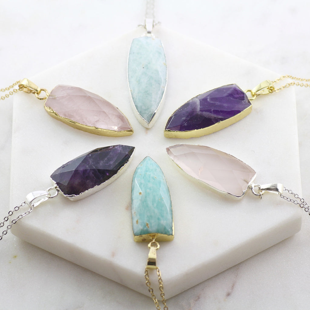 Adore Gemstone Collection - Amethyst Flat Pointed Necklace - Soul Made Boutique