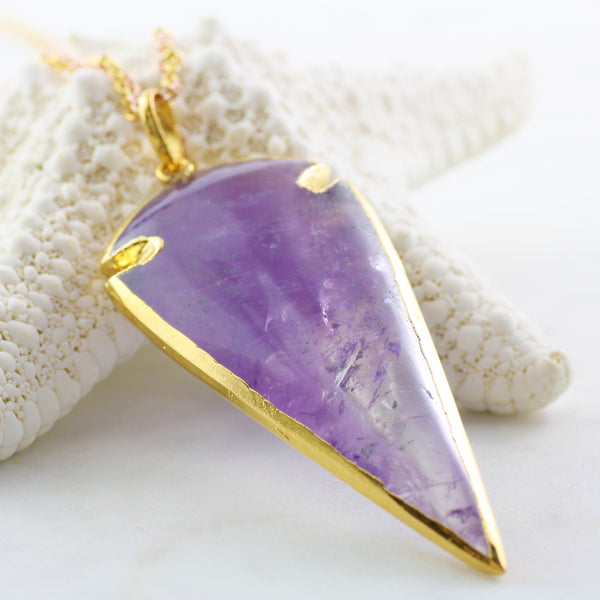 Adore Gemstone Collection - Amethyst Arrowhead Necklace - Soul Made Boutique