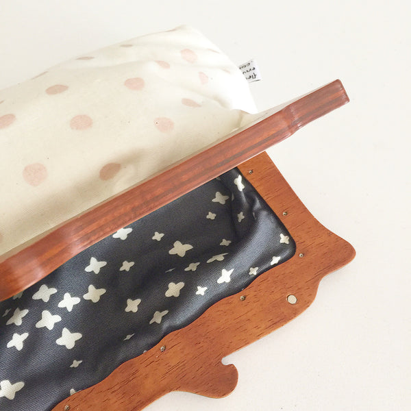 Wooden Handle Polka Dots Clutch