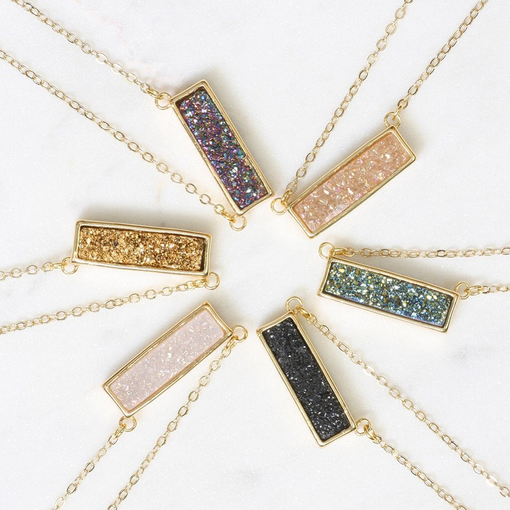 Adore Gemstone Collection - Druzy Horizontal Bar Necklace - Soul Made Boutique