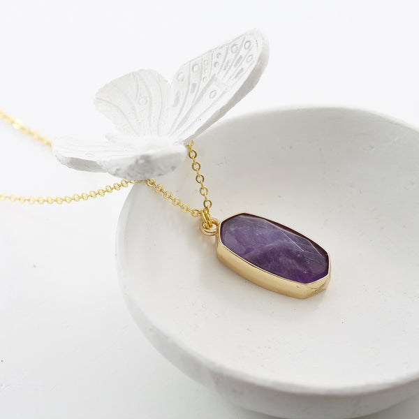 Adore Gemstone Collection - Amethyst Pendant Necklace - Soul Made Boutique