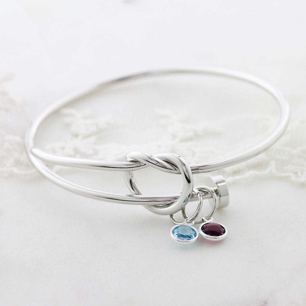Amor Personalised Collection - Bangle Love Knot Birthstone Crystal