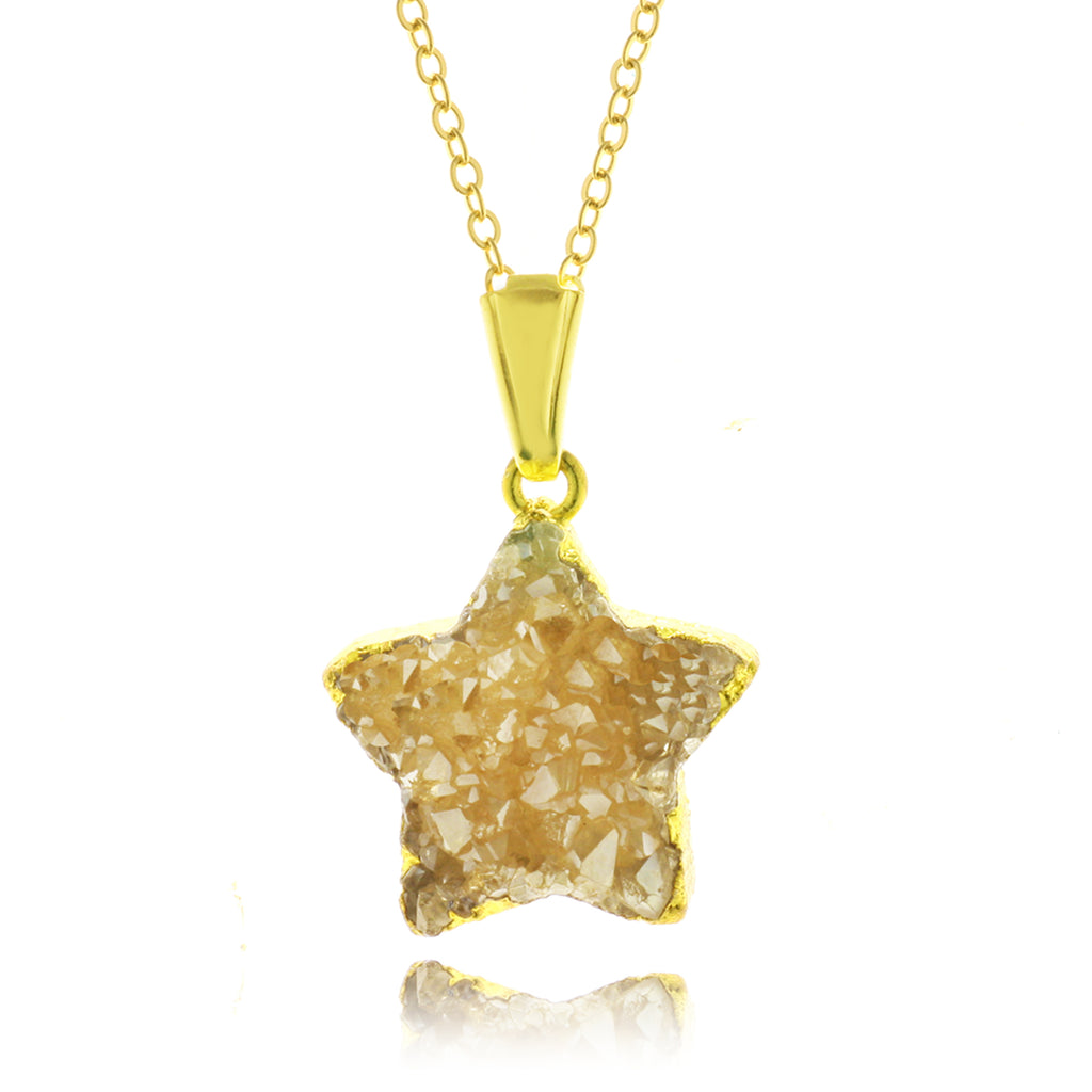 Adore Gemstone Collection - Druzy Star Necklace - Soul Made Boutique