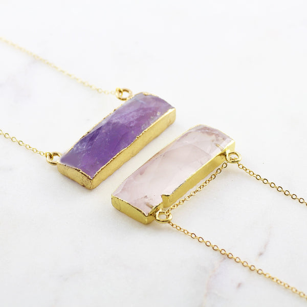 Adore Gemstone Collection - Amethyst Horizontal Bar Necklace - Soul Made Boutique
