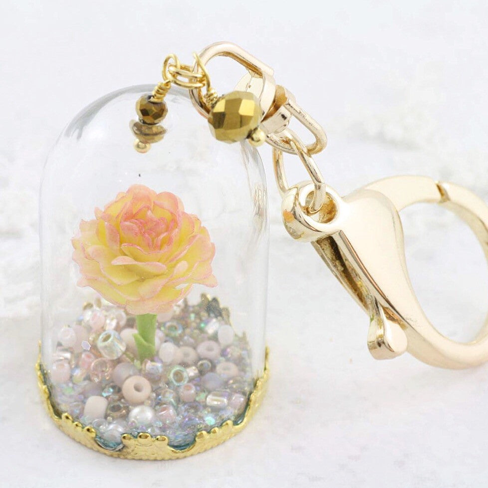 Glass Dome Rose Key Ring - Soul Made Boutique