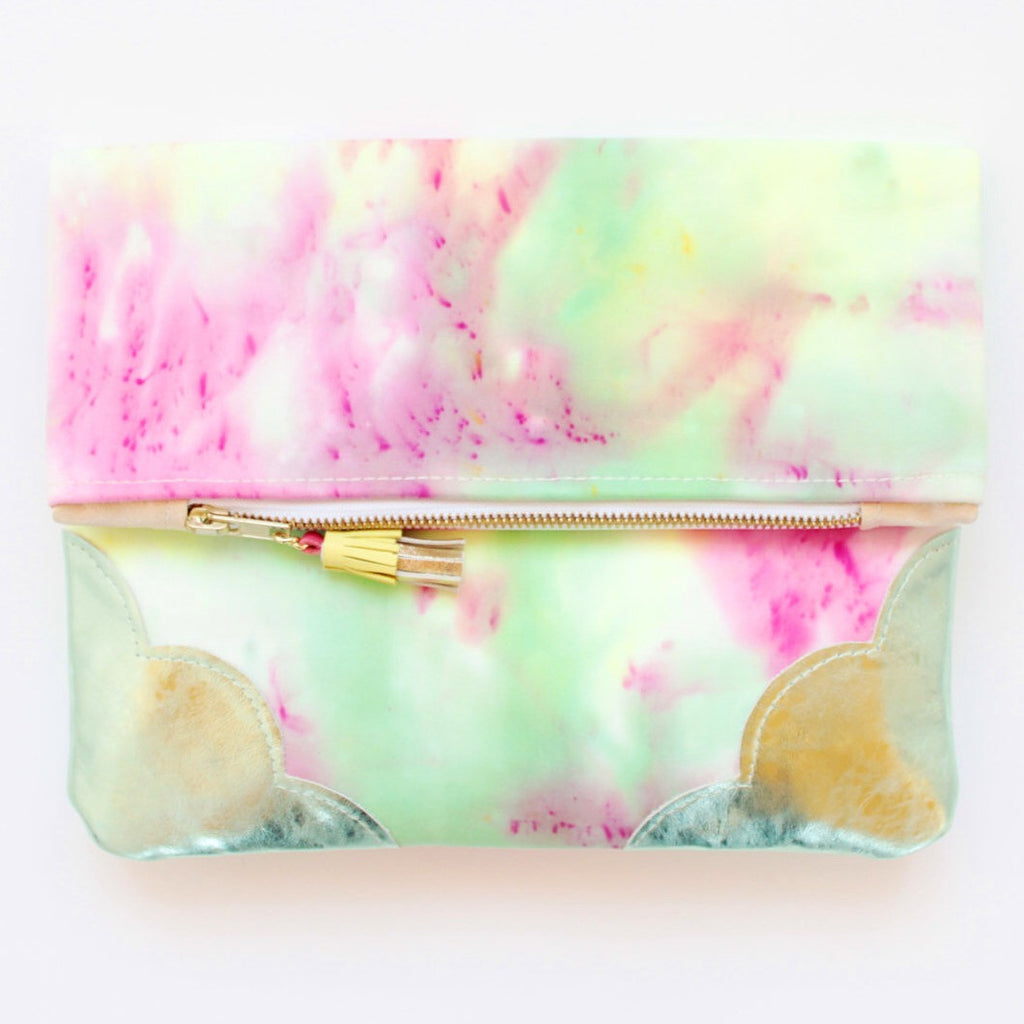 Dyed Watercolor Unique Leather Accents Clutch