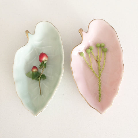 Pair of Leaf shaped Dishes