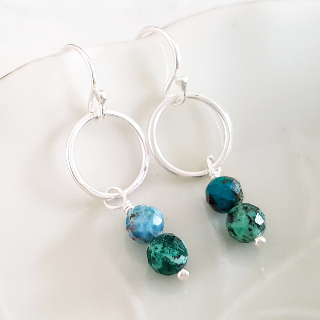 Adore Gems Collection - Sterling Silver Earrings Green Azurite Loop
