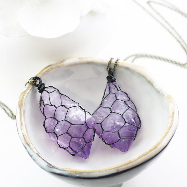 Adore Gemstone Collection - Amethyst Raw Necklace - Soul Made Boutique