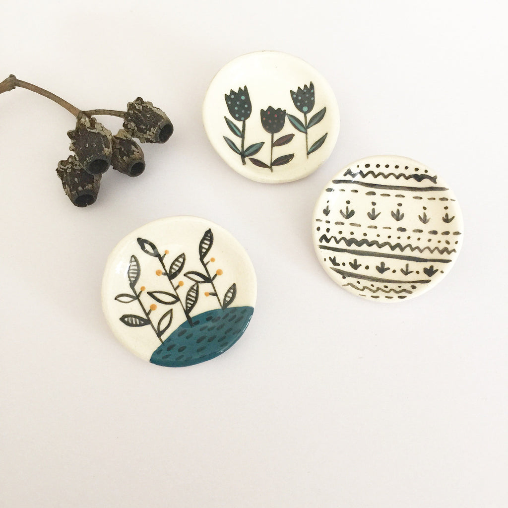 Quirky Fun Collection - Ceramic Round Symbols Brooch