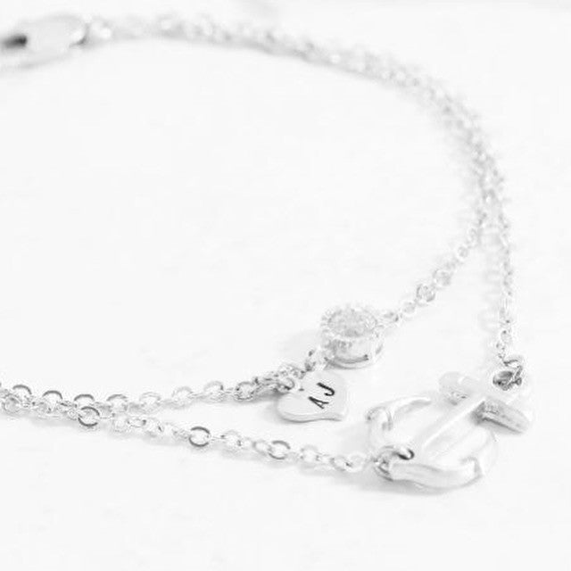 Amor Personalised Collection - Bracelet Zirconia & Anchor - Soul Made Boutique