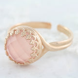 Adore Gemstone Collection - Rose Quartz Round Pendant Ring - Soul Made Boutique