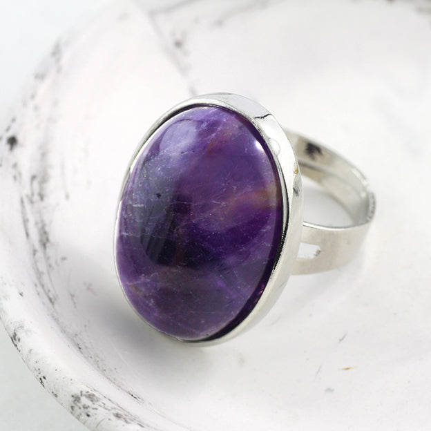 Adore Gemstone Collection - Amethyst Oval Pendant Ring - Soul Made Boutique
