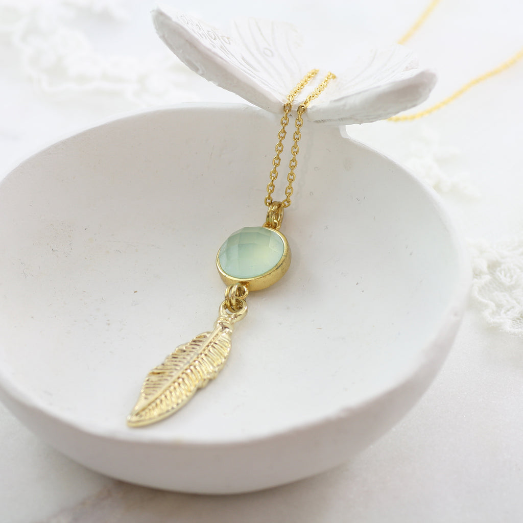 Adore Gemstone Collection - Chalcedony Pendant Necklace - Soul Made Boutique