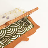 Wooden Handle Watercolor Spring Flowers Clutch