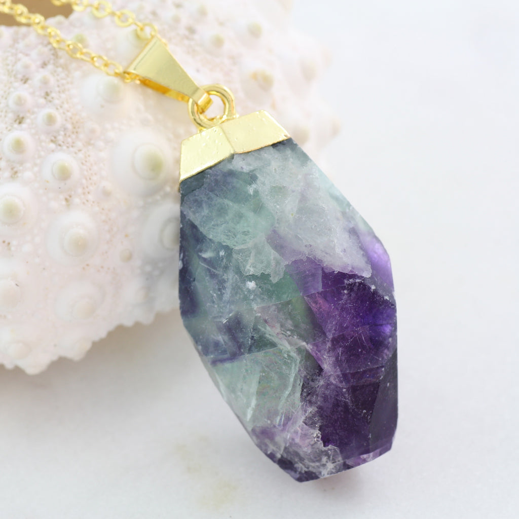 Adore Gemstone Collection - Fluorite Nugget Necklace - Soul Made Boutique