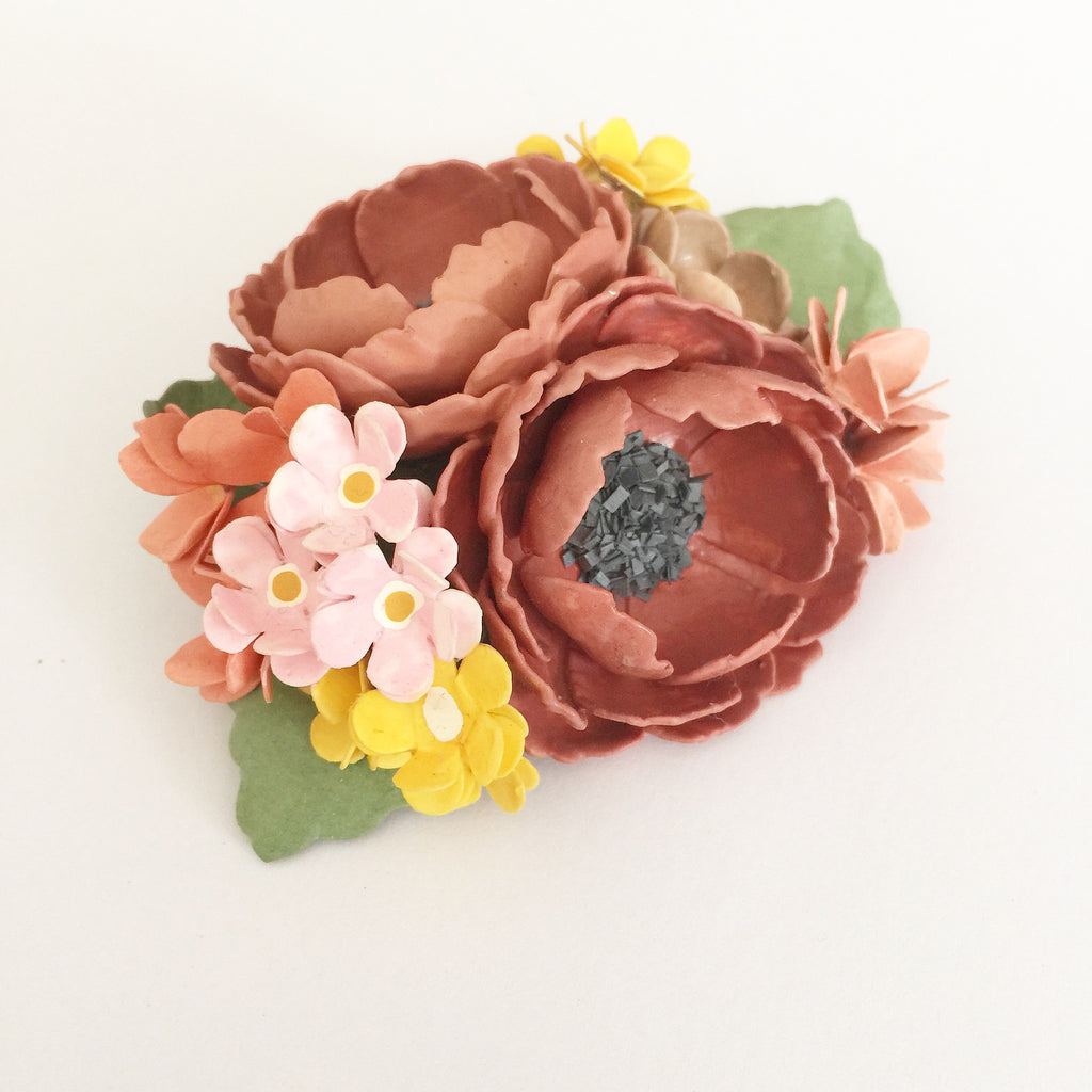 Floral Bouquet Paper Brooch