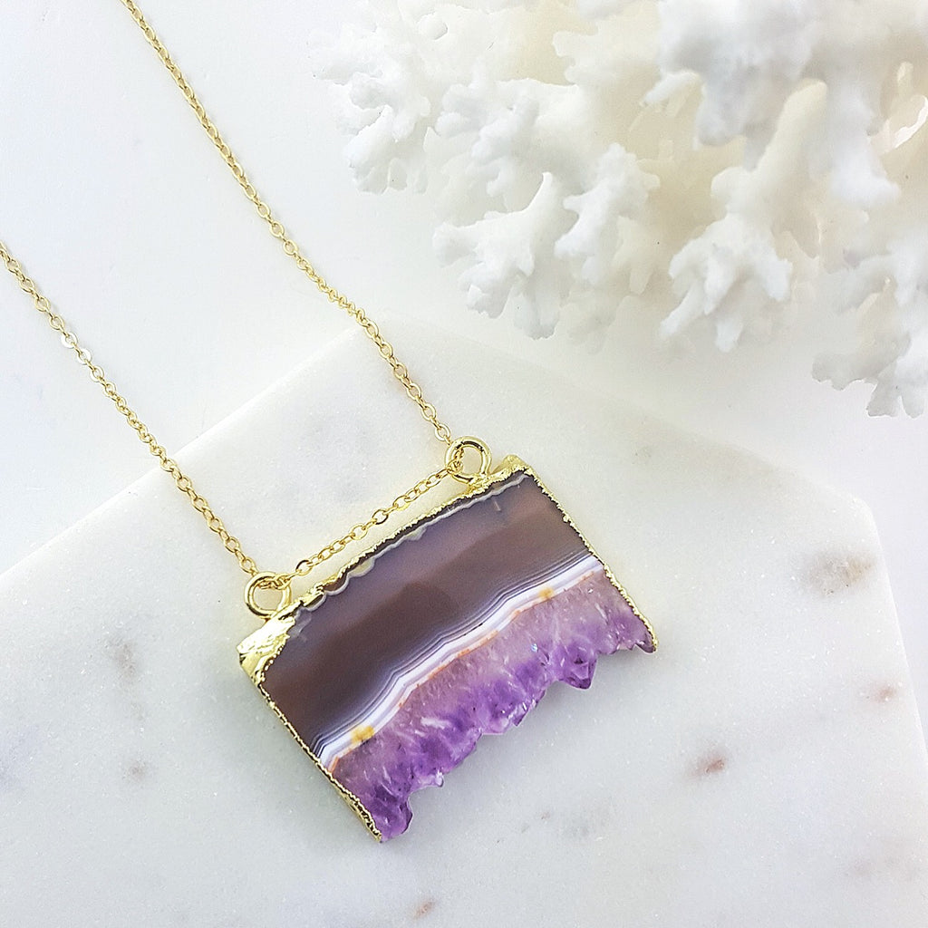 Adore Gemstone Collection - Amethyst Slab Necklace - Soul Made Boutique
