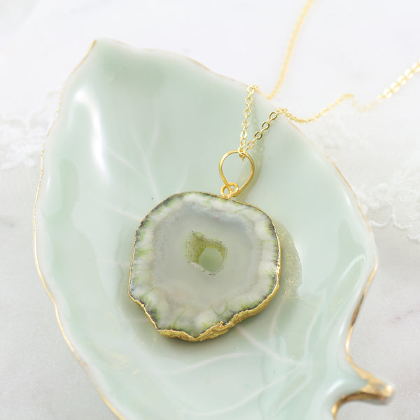 Adore Gemstone Collection - Agate Slice Necklace - Soul Made Boutique