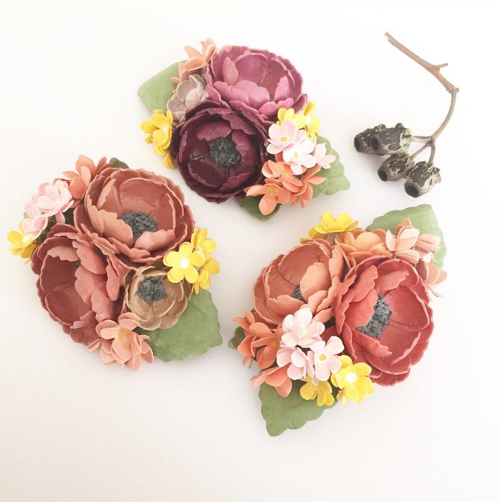 Floral Bouquet Paper Brooch - Soul Made Boutique