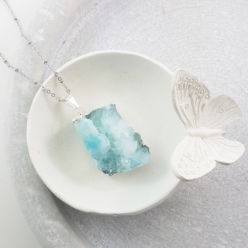 Adore Gemstone Collection - Druzy Raw Necklace - Soul Made Boutique