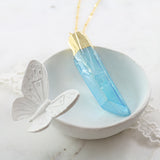 Adore Gemstone Collection - Aqua Aura Quartz Raw Slab Necklace - Soul Made Boutique