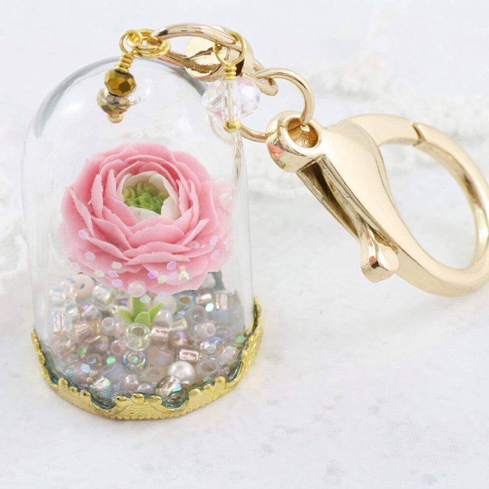 Glass Dome Peony Key Ring - Soul Made Boutique