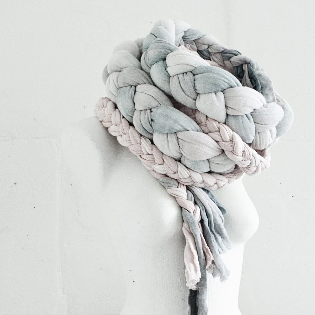 Hand Dyed Rustic Braided Scarf