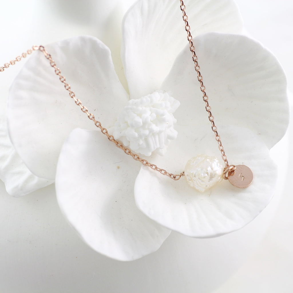 Amor Personalised Collection - Necklace Pearl Rosebud - Soul Made Boutique