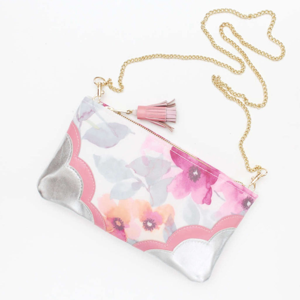 Floral Watercolor Leather Accents Sling Bag - Soul Made Boutique