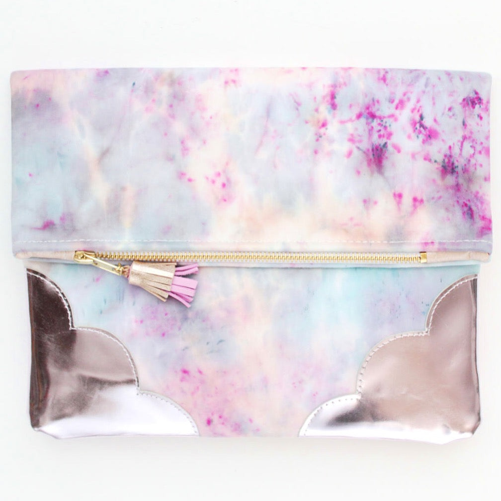 Watercolor Unique Leather Accents Clutch