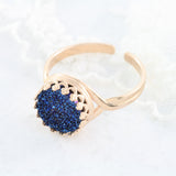Adore Gemstone Collection - Druzy Round Pendant Ring - Soul Made Boutique