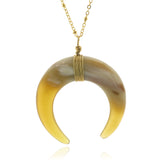 Charismatic Wanderlust Collection - Horn Necklace Moon Arc Natural - Soul Made Boutique