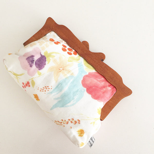 Wooden Handle Watercolor Abstract Flowers Clutch