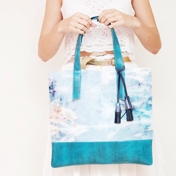 Watercolor Hand Dyed Leather Accents Bag