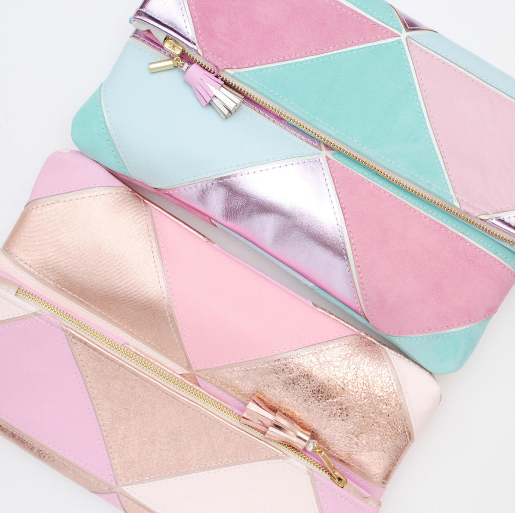 Geometric Prism Unique Leather Accents Clutch