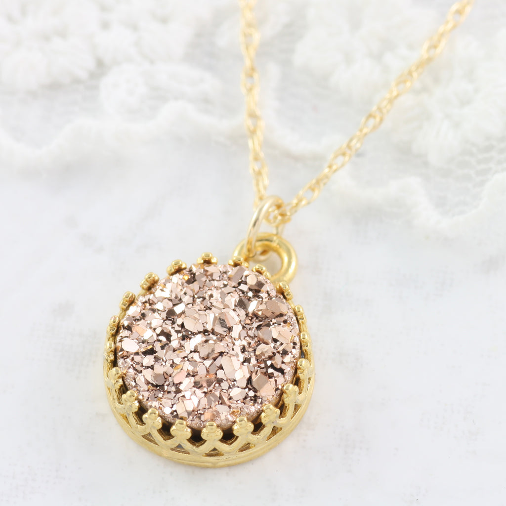 Adore Gemstone Collection - Druzy Round Pendant Necklace - Soul Made Boutique