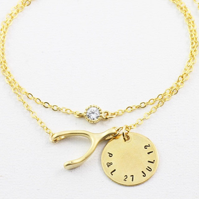 Amor Personalised Collection - Bracelet Zirconia & Wishbone - Soul Made Boutique