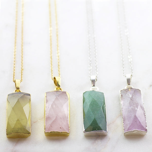 Adore Gemstone Collection - Amethyst Vertical Bar Necklace - Soul Made Boutique