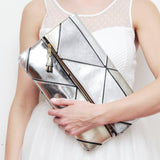 Geometric Prism Unique Leather Accents Clutch - Soul Made Boutique